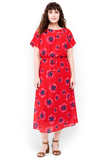 Womens Plus Size Dolman Sleeve Woven Midi Dress From Lands End