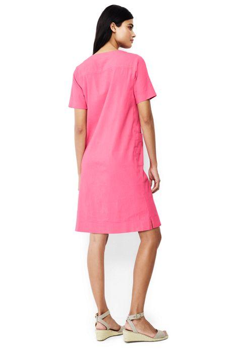 Women's Short Sleeve Lace Up Tunic Dress