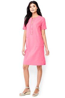 Shirtkleid mit geschnürtem Ausschnitt im Leinen/Baumwoll-Mix für Damen