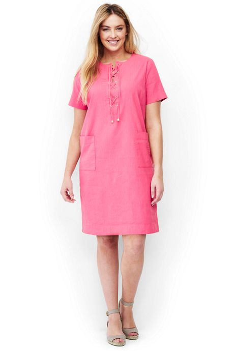 Womens Plus Size Short Sleeve Lace Up Tunic Dress Dresses Womens
