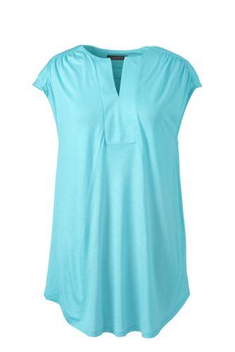 Women's Plus Cap Sleeve Shirred Split Neck Tunic