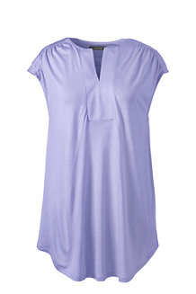 Women's Cap Sleeve Shirred Split Neck Tunic