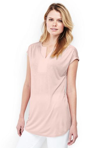 Women's Regular Cap Sleeve Shirred Split Neck Tunic