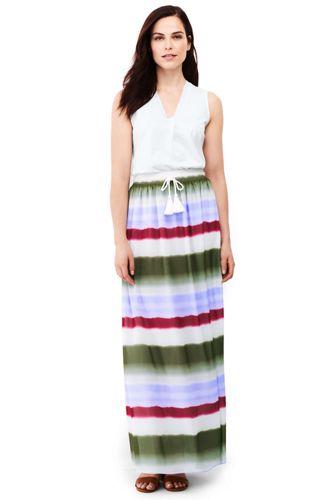 Gestreifter Maxirock im Batik-Look für Damen in Normalgröße