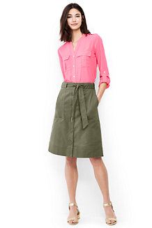 Women's Button Front A-line Skirt