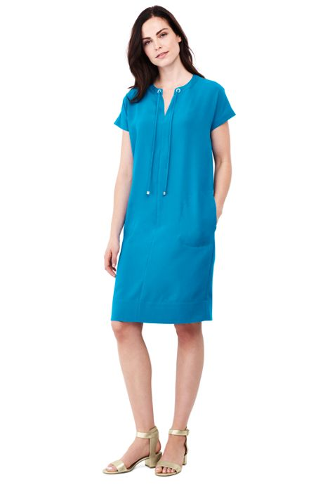 Women's Petite Short Sleeve Woven Slit Neck Tee Dress