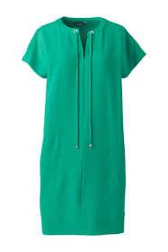 Women's Petite Short Sleeve Woven Slit Neck Tee Dress