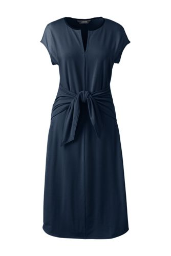 Women's Regular Soft Stretch Jersey Tie Front Dress