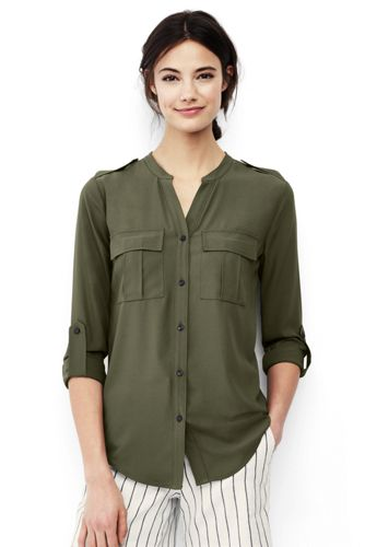 Women's Roll Sleeve Military Shirt