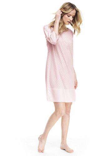La Chemise de Nuit Imprimée Manches 3/4 en Coton Modal, Femme Stature Standard