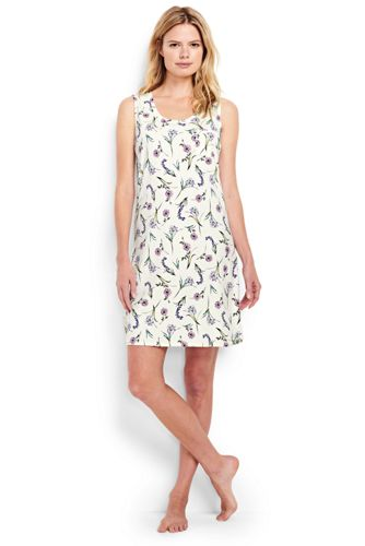Women's Regular Sleeveless Knee Length Patterned Supima Nightdress