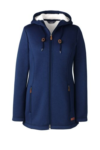 Women's Hooded Fleece-lined Longline Jacket