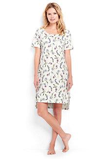 Knielanges, gemustertes Supima Nachthemd mit kurzen Ärmeln für Damen