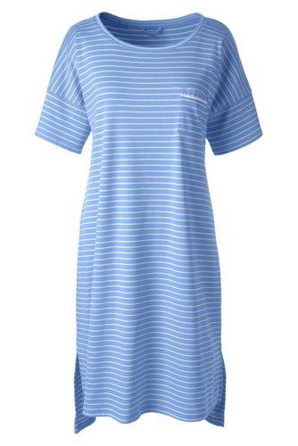 La Chemise de Nuit Supima Courte Rayée, Femme Stature Standard