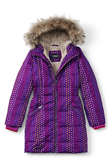 Girls' Fleece Lined Patterned Down Coat