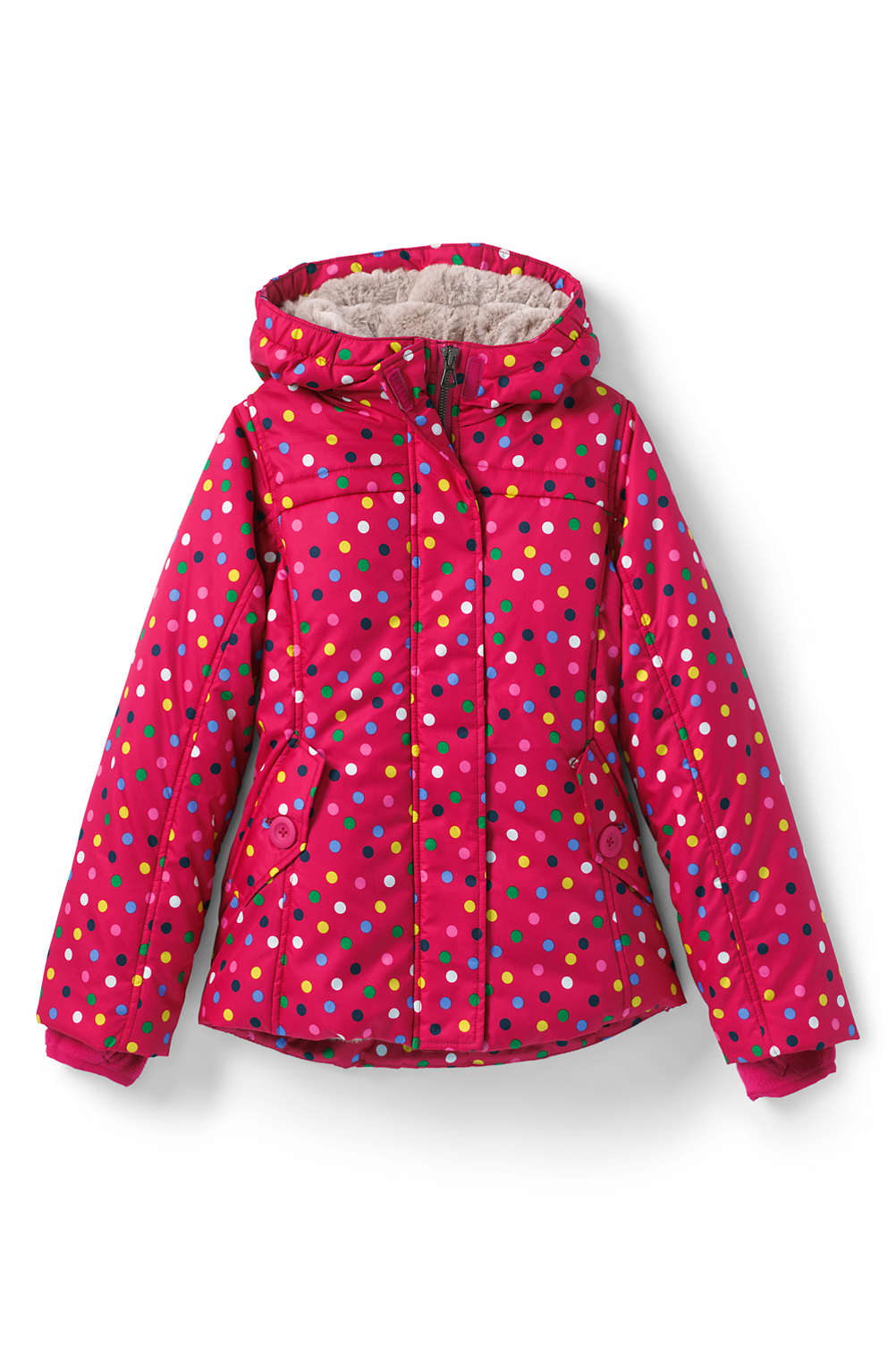 7ceccfe69f7f Girls Fleece Lined Printed Jacket from Lands  End