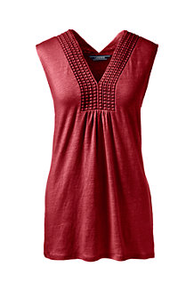 Women's V-neck Linen Vest Top