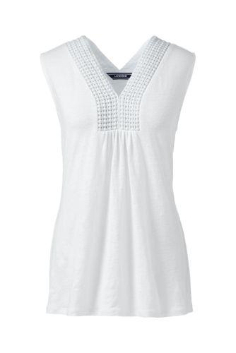 Women's Regular V-neck Linen Vest Top