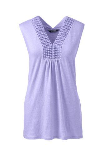 28d999e7a6802 Women s Regular V-neck Linen Vest Top