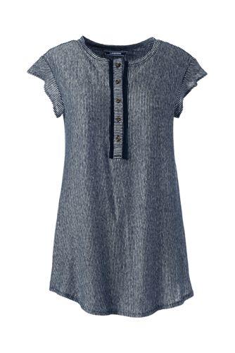 Women's Striped Sleeveless Linen Jersey Ruffle Henley Top