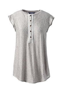 Women's Striped Sleeveless Linen Jersey Ruffle Henley Top