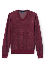 Men's Fine Gauge Supima Birdseye Pattern V-neck Sweater