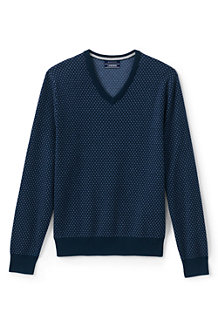 Men's Birdseye Fine Gauge V-neck Jumper