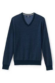 Men's Fine Gauge Supima Birdseye Pattern V-neck Sweater