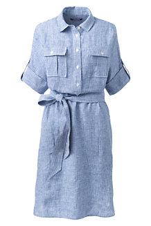 La Robe Chemise Rayée en Lin, Femme