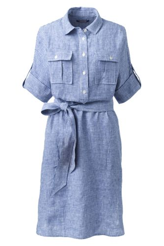 Women's Stripe Linen Utility Shirtdress