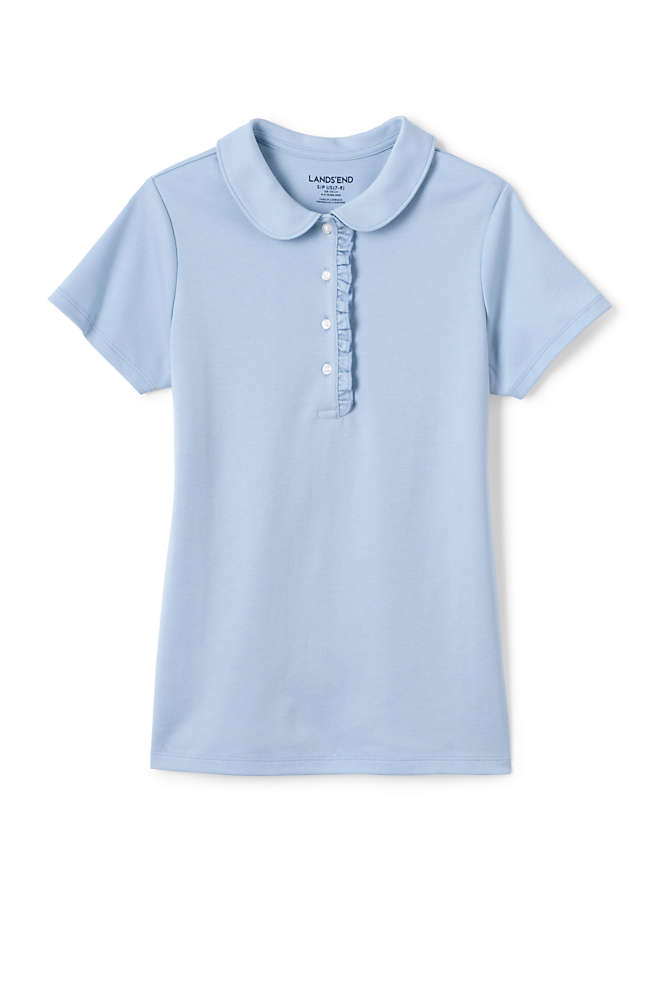 School Uniform Girls Short Sleeve Ruffle Placket Peter Pan Collar Polo Shirt, Front
