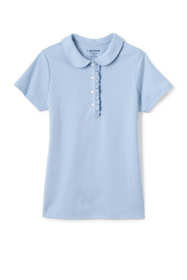 Girls Short Sleeve Ruffle Placket Peter Pan Collar Polo Shirt