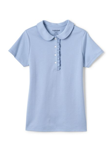 Girls Short Sleeve Ruffle Placket Peter Pan Shirt