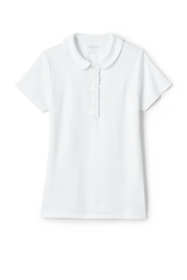 School Uniform Girls Short Sleeve Ruffle Placket Peter Pan Collar Polo Shirt