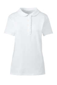 School Uniform Women's Short Sleeve Ruffle Placket Peter Pan Shirt