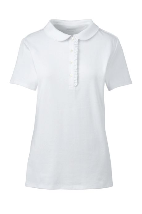 School Uniform Women's Short Sleeve Ruffle Placket Peter Pan Collar Polo Shirt