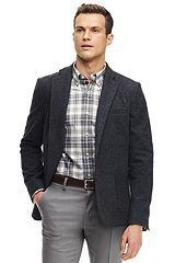 Blended Wool Jersey Sportcoat 486544: Charcoal