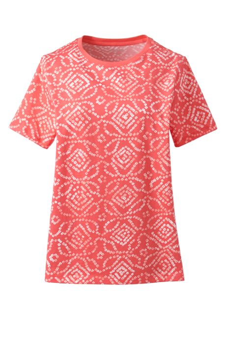 Women's Plus Size Petite Relaxed Supima Cotton Short Sleeve Crewneck T-Shirt Print