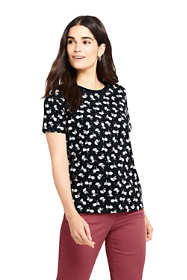 Women's Petite Relaxed Supima Cotton Short Sleeve Crewneck T-Shirt Print
