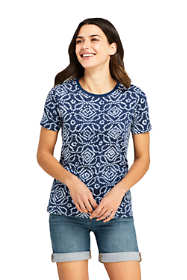 Women's Petite Relaxed Fit Supima Cotton Crewneck Short Sleeve T-shirt - Print