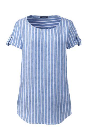 Le T-Shirt en Lin à Motifs, Femme Stature Standard