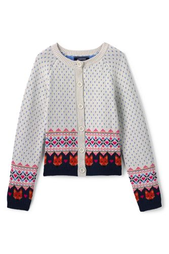 Girls Fox Fairisle Cardigan from Lands' End