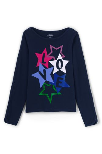 Little Girls' Love Graphic Boatneck Jersey Top