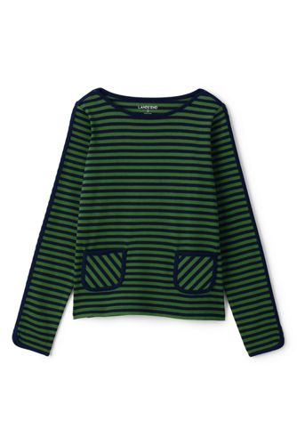 Little Girls' Stripe Pocket Boatneck Jersey Top