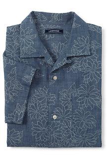 メンズ・シャンブレープリント・オープンカラー・シャツ/スリムフィット/半袖