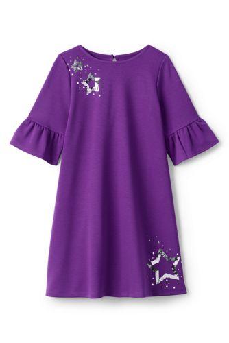 La Robe Ponté Évasée à Paillettes, Petite Fille