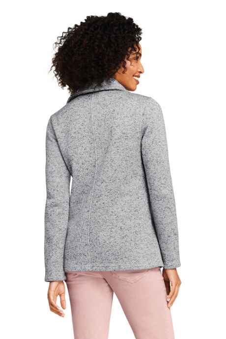 Women's Petite Sweater Fleece Asymmetrical Jacket
