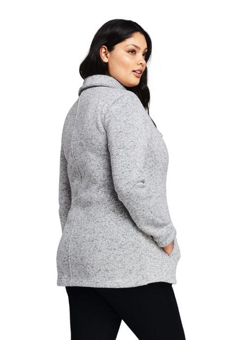 Women's Plus Size Sweater Fleece Asymmetrical Jacket