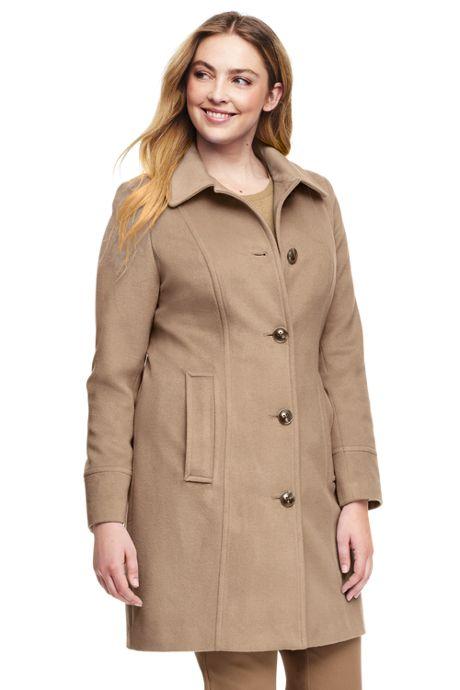 Women's Plus Size Wool Car Coat