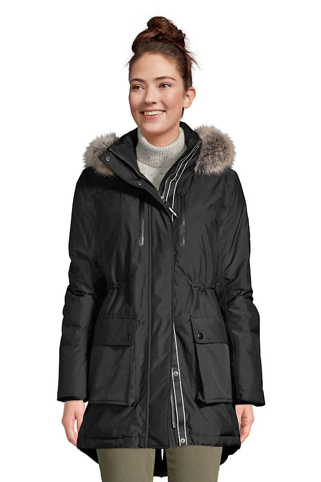 Women's Petite Expedition Waterproof Down Winter Parka with Faux Fur Hood, Front